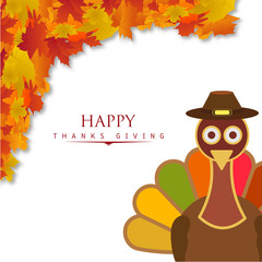 Happy Thanksgiving Day creative typography with spring leaves and detailed turkey duck wearing hat on white background