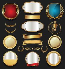 Golden shield laurel wreath and badge retro design collection