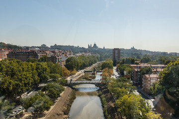 Views of Madrid, from the cable car of the Casa de Campo, with air contaminated by pollution