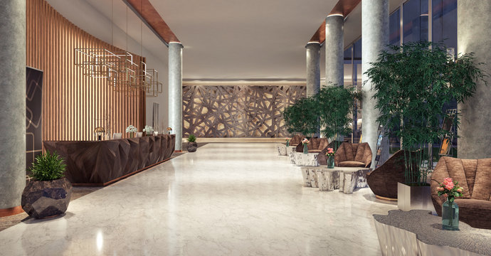 Lobby entrance with reception desk and lounge area 3D Rendering