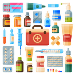 Medical instruments first-aid set outfit medicine chest and doctor tools flat medicament medication hospital health treatment vector illustration.