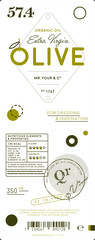 Extra virgin olive oil trendy label template. Layout of food identity branding, modern packaging design. Healthy organic product, natural vegetarian nutrition vector illustration