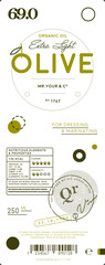 Natural extra virgin olive oil label template. Layout of food identity branding, modern packaging design. Healthy agriculture product, organic vegetarian nutrition vector illustration