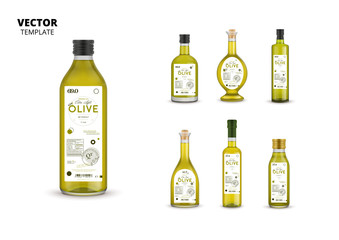 Extra virgin olive oil glass bottles with labels isolated on white background. Layout of food identity branding, modern packaging design. Healthy organic product, natural nutrition vector illustration