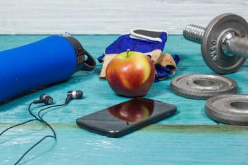 Sport Equipment. Dumbbells, Free Weights, Sport Gloves, Phone With Earphones