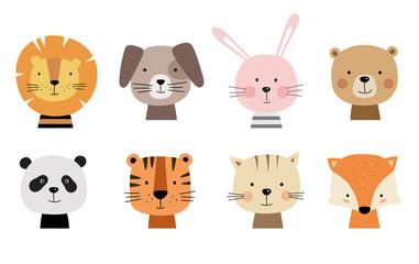 Cartoon cute animals for baby cards. Vector illustration. Lion, dog, bunny, bear, panda, tiger, cat, fox. Fototapete