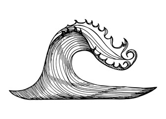 wave vector sketch. hand insulated drawing