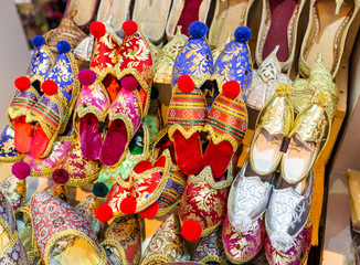 Colorful Turkish Slippers at the sale counter in Bazar souvenir market