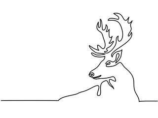 Continuous line drawing. Christmas reindeer. Total editable, choose thickness and place of line