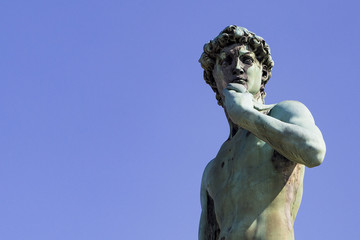 Statue of David on the michelangelo square in the Florence, Italy