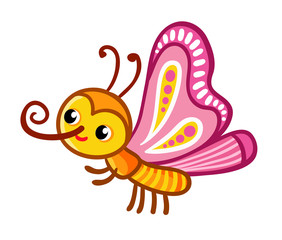 Vector illustration with cute butterfly on white background. Insect cartoon, childrens style.