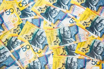 Overhead view of Australian 50 dollar bills