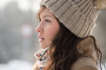 Woman outdoor winter park