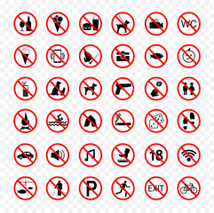 prohibition icons set, forbidden signs
