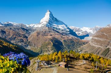 Matterhorn peak view from Sunnega cable car station in Zermatt, Switzerland.