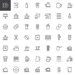 Coffee line icons set, outline vector symbol collection, linear style pictogram pack. Signs, logo illustration. Set includes icons as coffee house, tea cup, coffee machine, dessert, cappuccino, latte