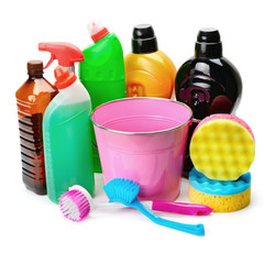 set of household chemicals, bucket and brushe for cleaning isolated on white background
