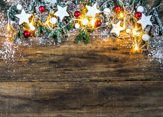 Christmas background decoration with light and snow