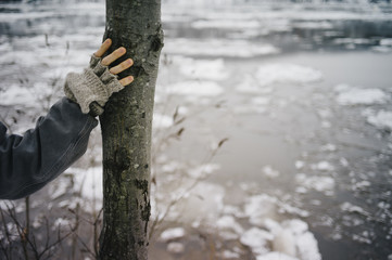 gloved hand rests on tree by frozen river