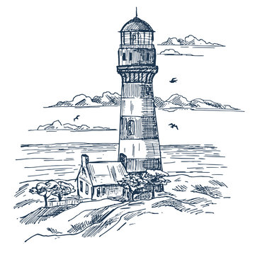 Lighthouse sketch on seashore with house