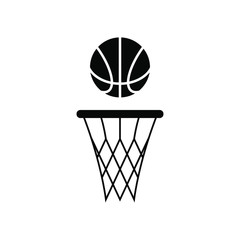 A basket ball and a basketball net icon.