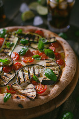 Italian pizza with mixed vegetables