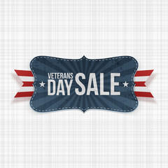 Veterans Day Sale Banner with Ribbon and Shadow