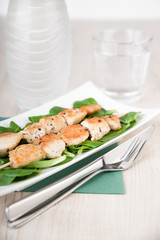 Hühnerfleischspiess mit frischem Feldsalat