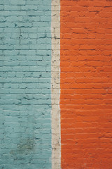 Painted brick wall, close up