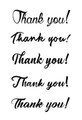 Thank you card. Hand drawn lettering. Ink Vector illustration.