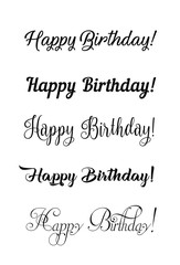 Happy birthday vintage hand lettering, brush ink calligraphy, vector type design, isolated on white background. Hand drawn design. Black and white.