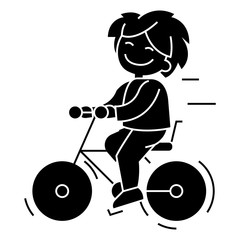 bicycle, boy riding  icon, vector illustration, black sign on isolated background
