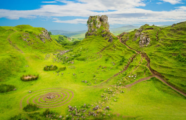 The famous Fairy Glen, located in the hills above the village of Uig on the Isle of Skye in Scotland.