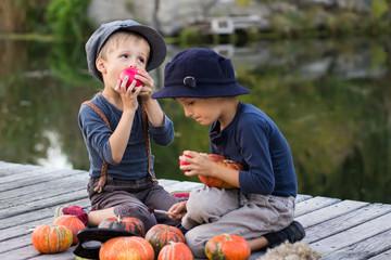 Joyful boys sitting with pumpkins and apples