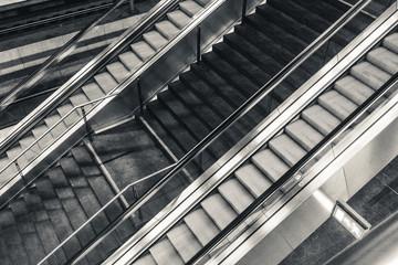 Escalator inside a train station