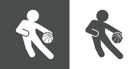 Icono plano jugador de baloncesto gris y blanco