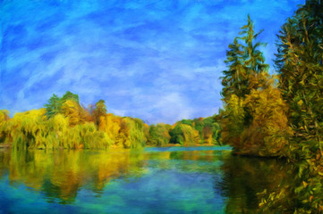 River. Autumn landscape, oil paintings, fine art