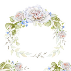 Watercolor rose wreath and border isolated on white background