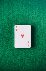 Cards: Ace Of Hearts Sits On Green Felt Table