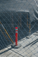 Chain-link fence in front of construction site