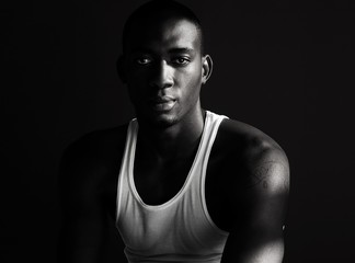 Handsome Black Man Posing in Dark