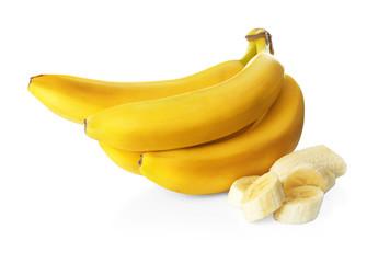 Delicious bananas on white background