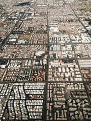 View of city in las vegas from window of airplane