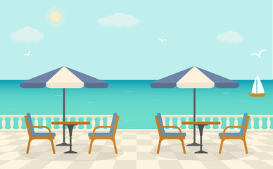 Cafe on the terrace near the sea. Sea landscape. Vector illustration.