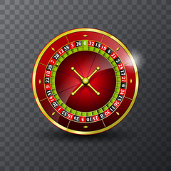 Vector illustration on a casino theme with roulette wheel on transpareent background.