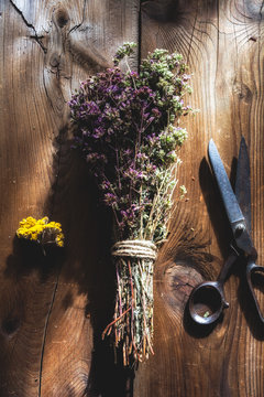 Dried herbs on wooden table