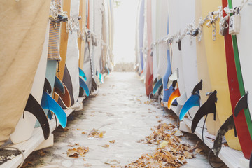Rows of surfboards at beach
