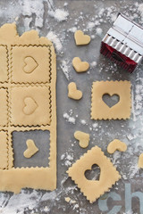 cookie dough with heart cut-outs