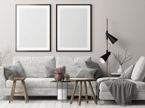 Mock up posters in Nordic hipster living room, 3d render, 3d illustration