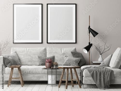 Mock Up Posters In Nordic Hipster Living Room 3d Render Illustration